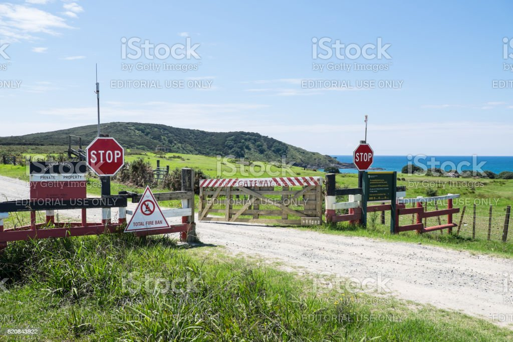 Public access is not permitted on private Maori land stock photo