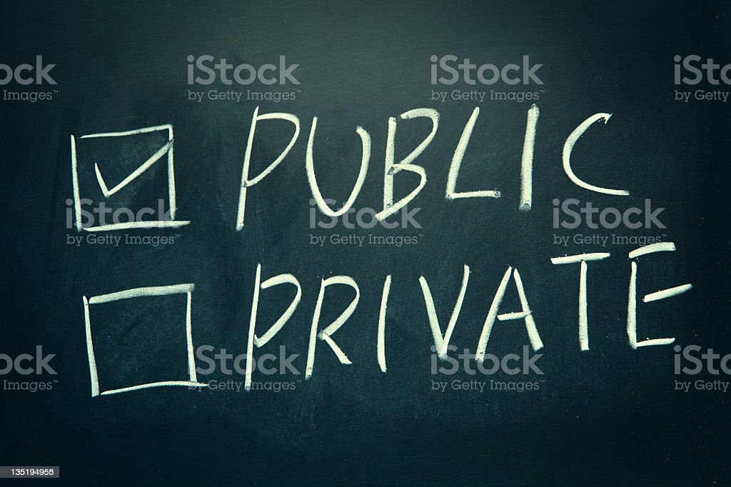 Public and Private check boxes written on a blackboard. royalty-free stock photo