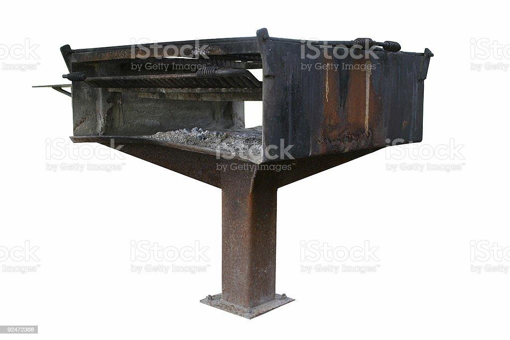 Public Barbecue Grill Over White stock photo