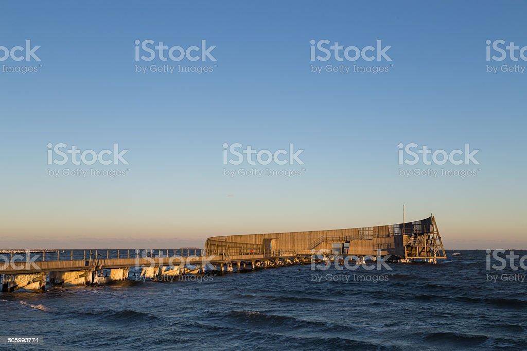 Public bathing pier at Amager Beach in Copenhagen stock photo