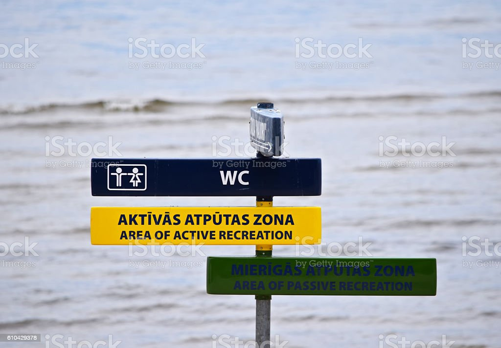 Public Beach directional signs in Jurmala, Latvia stock photo