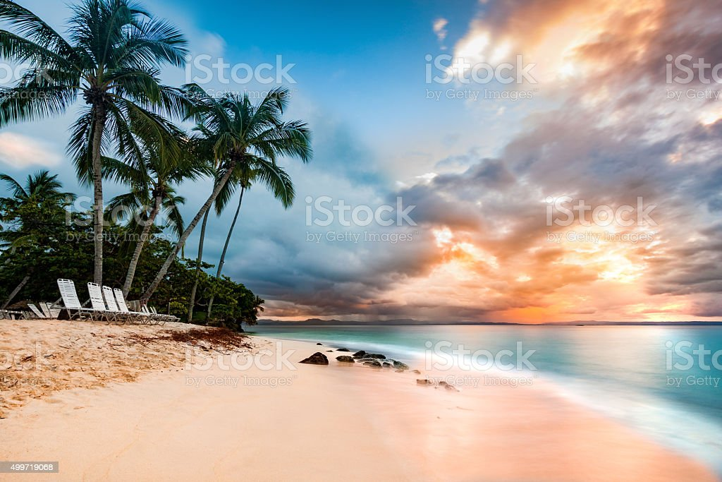 Public beach in Cayo Levantado, Dominican Republic stock photo