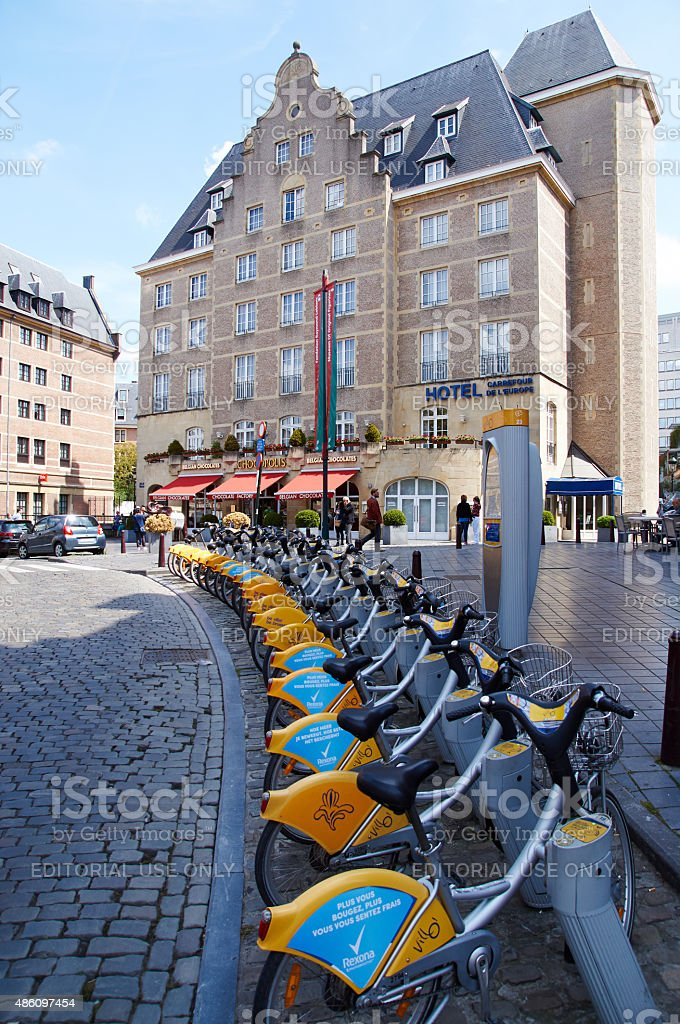 Public bicycle rental in front of an hotel in Brussels stock photo