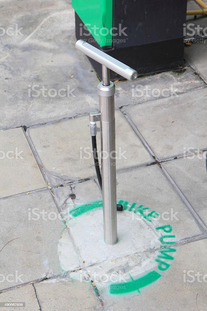 Public bike pump stock photo