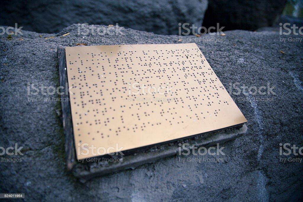 public Braille sign stock photo