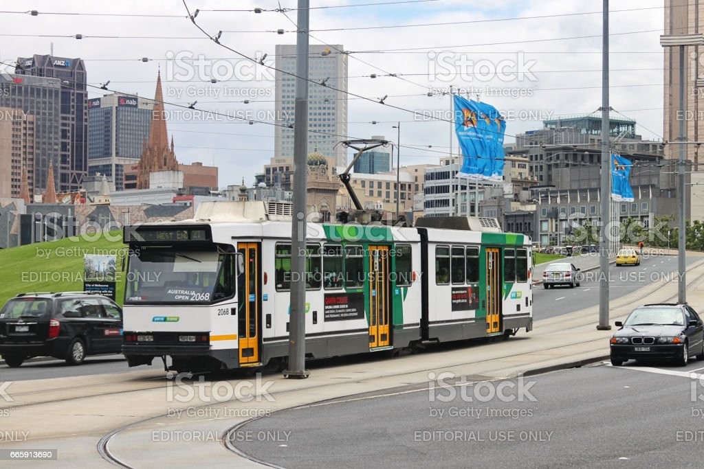 Public bus in Melbourne, Australia connecting Rod Laver Arena and West End stock photo