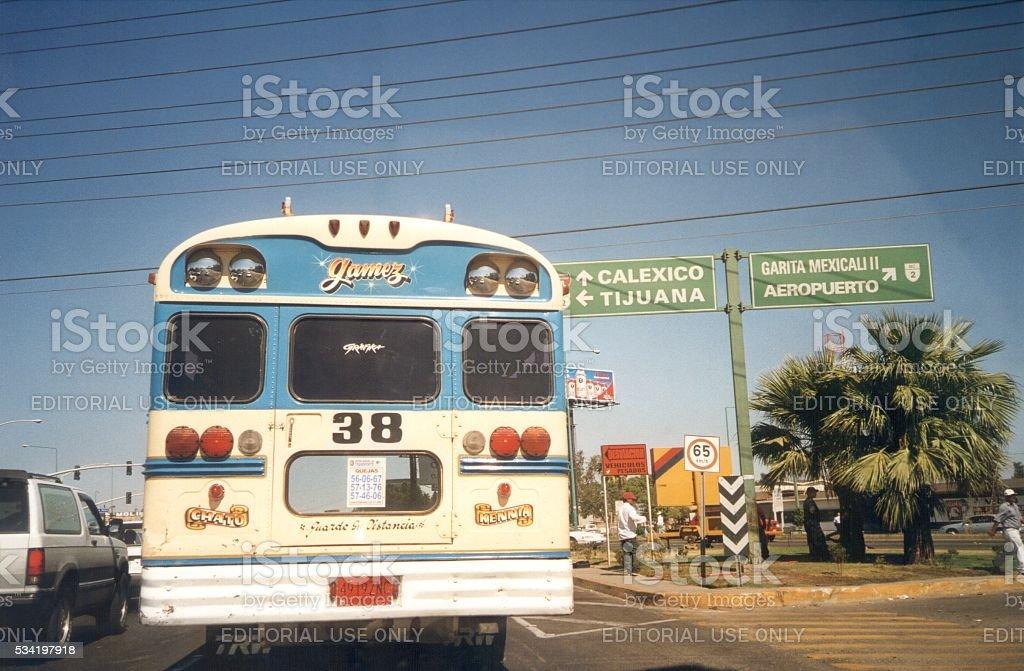 Public bus in Mexicali, Baja California, Mexico stock photo