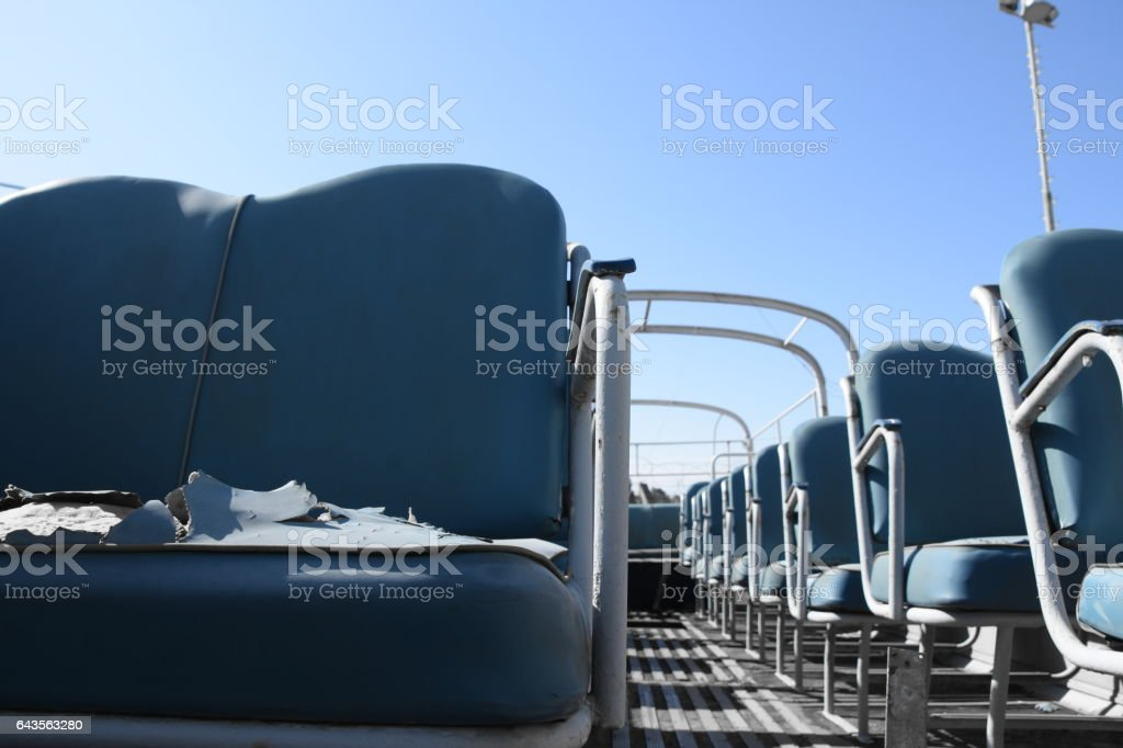 OLD public bus with an open roof stock photo