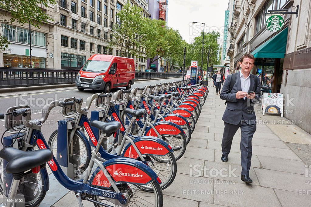 Public Bycicles in London stock photo