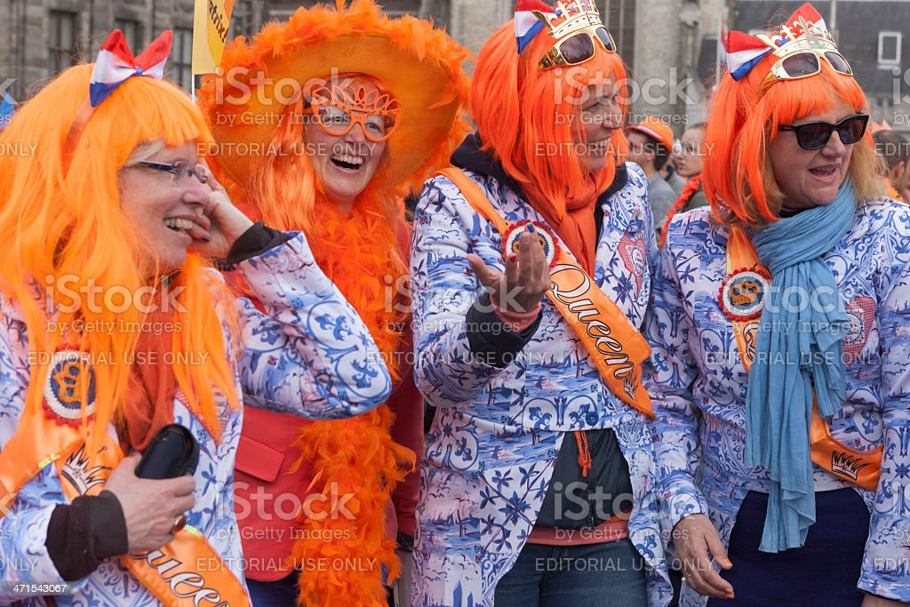 public celebrating the inauguration of King Willem-Alexander in Amsterdam royalty-free stock photo
