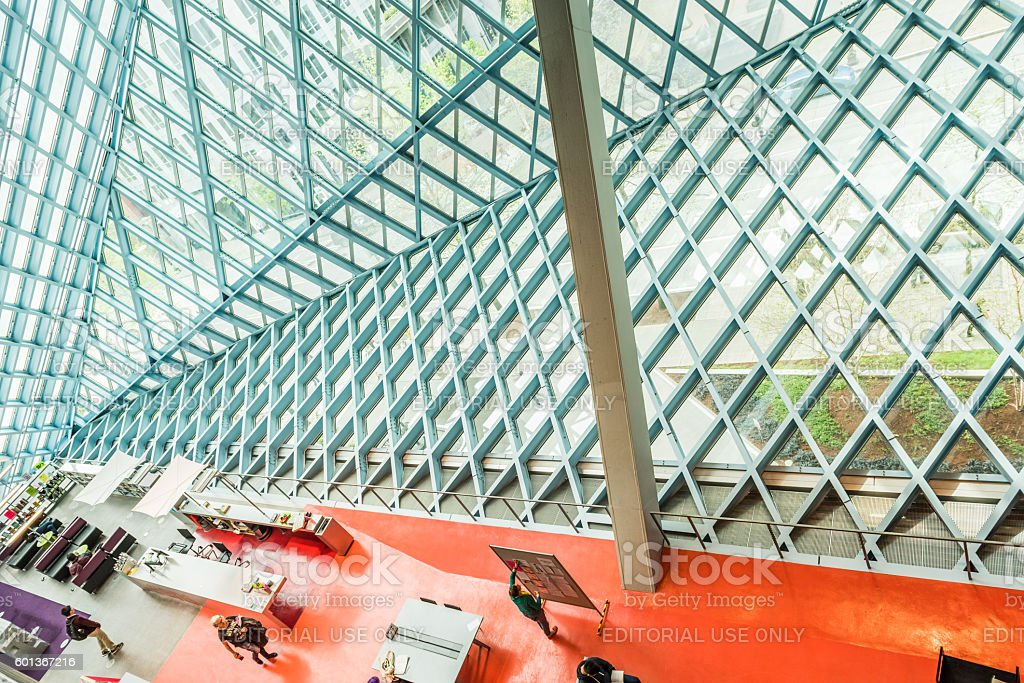 Public Central Library in Seattle with modern glass architecture stock photo