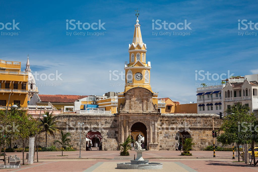 Public Clock Tower in Cartagena de Indias stock photo