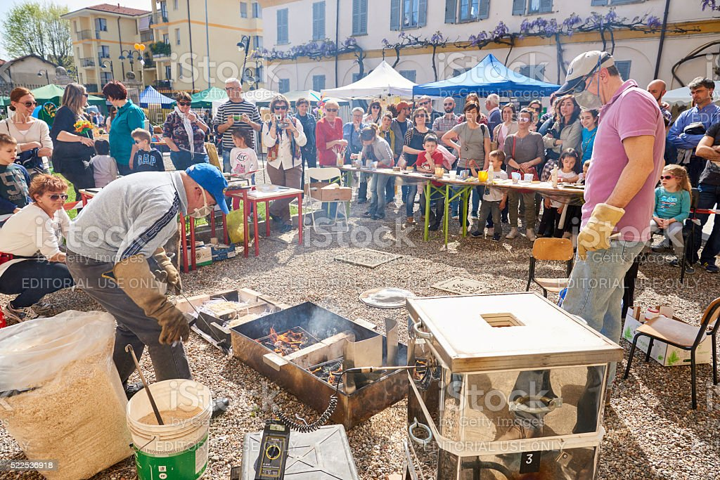 Public Demonstration of Ceramic Making stock photo