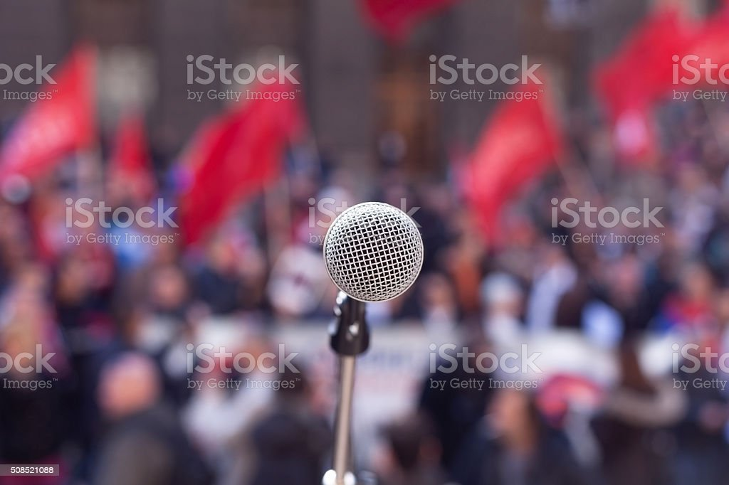 Public demonstration. Protest. stock photo