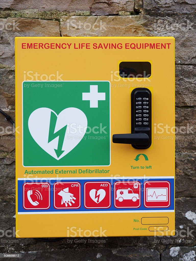 Public Emergency Automated Defibrillator on a Wall stock photo