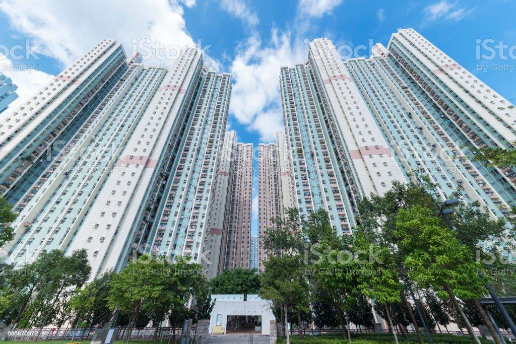 Public estate in Hong Kong city stock photo