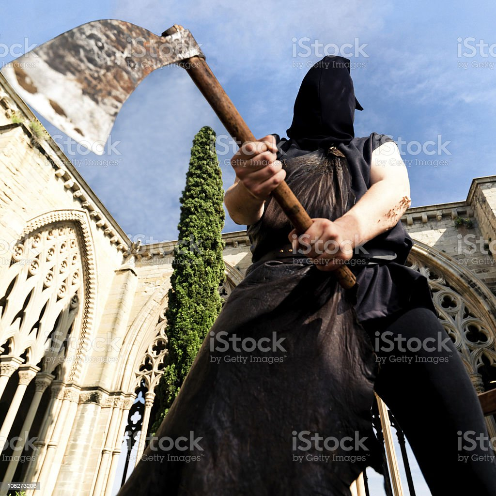 Public Executioner with Axe stock photo