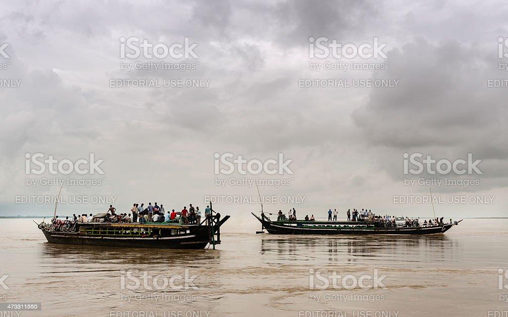 Public ferries on the Brahmaputra River, Assam, India. stock photo