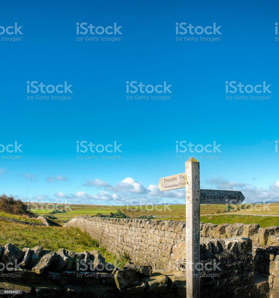 Public footpath sign and big blue sky, Pennine Way, UK stock photo