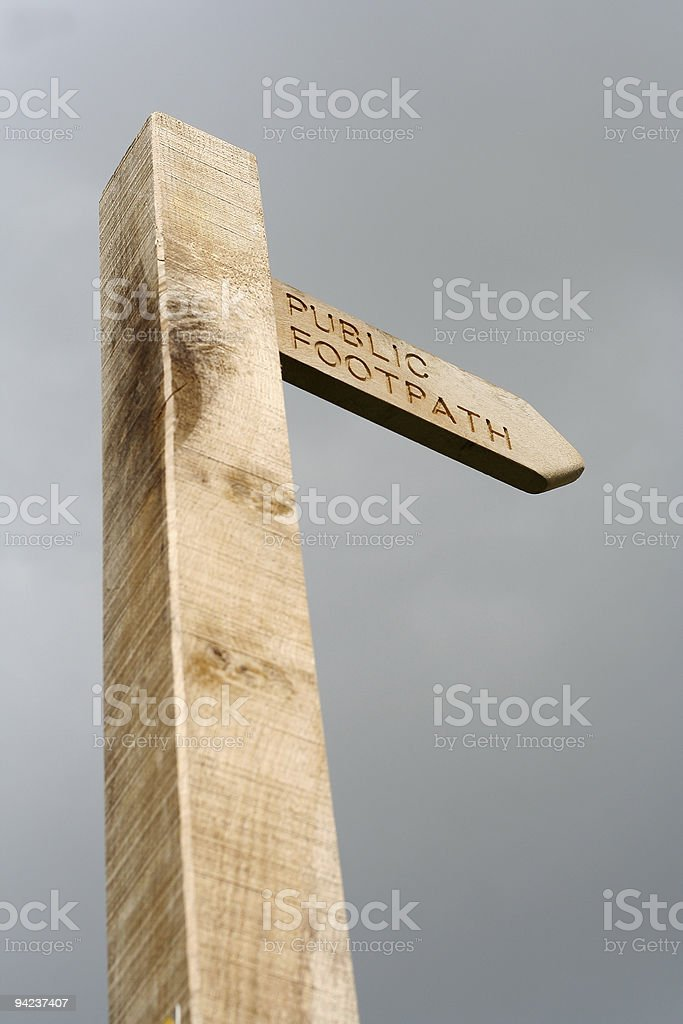 Public footpath sign found in the English countryside royalty-free stock photo