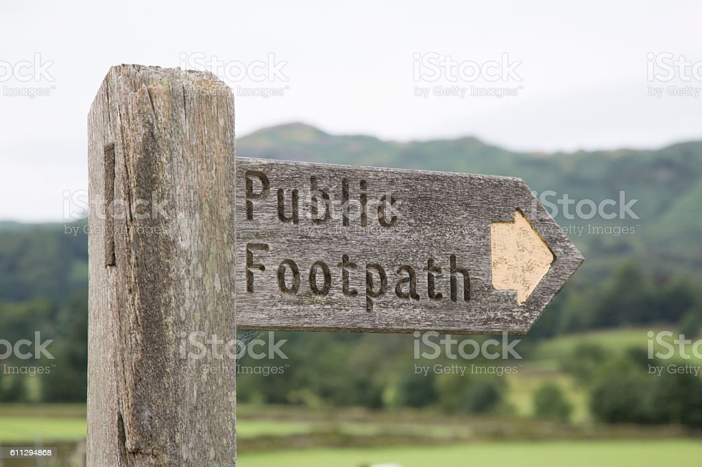 Public Footpath Sign, Grasmere; Lake District stock photo