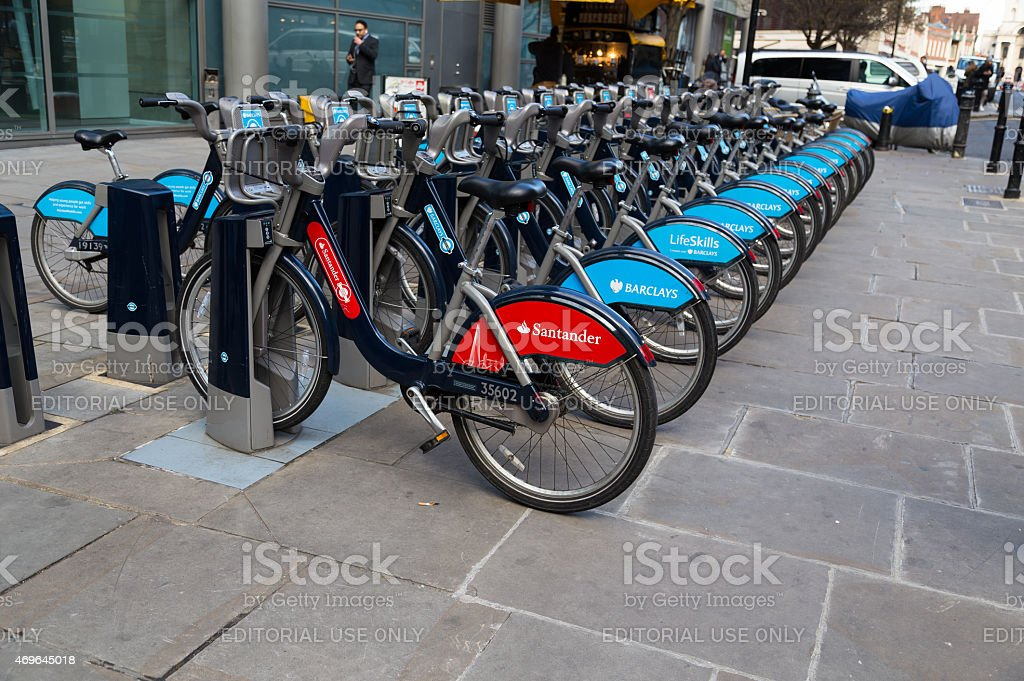 Public Hire Bikes in London stock photo