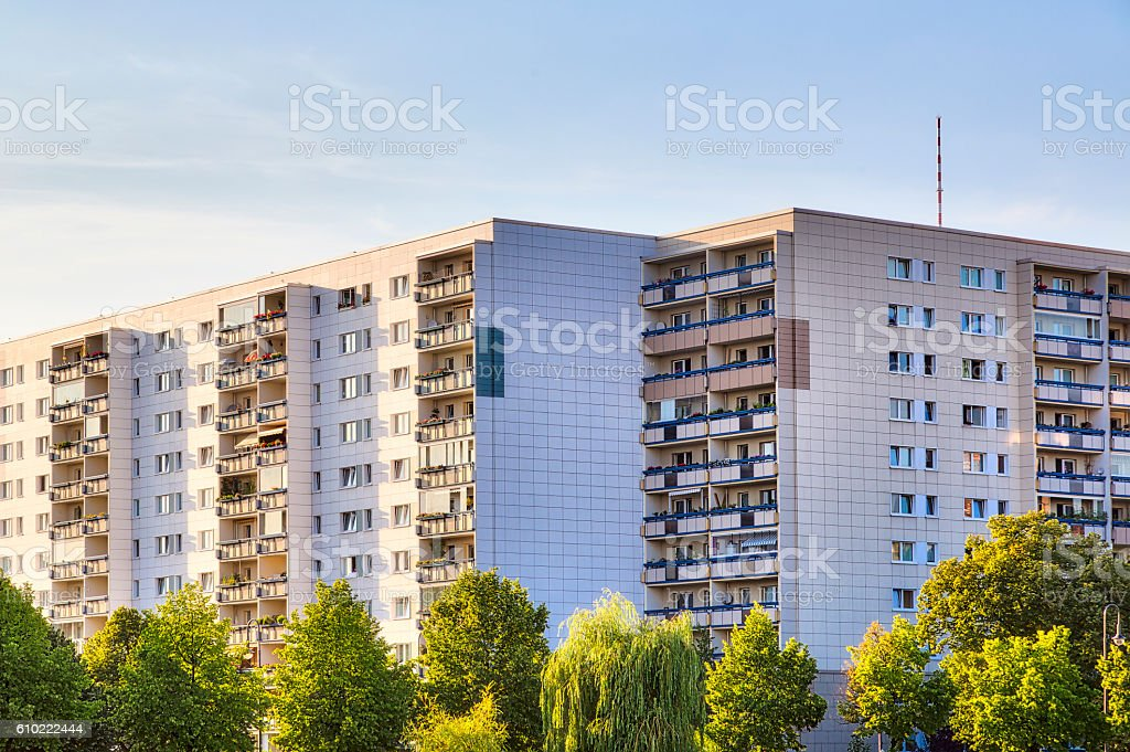 public housing in Berlin during sunset stock photo