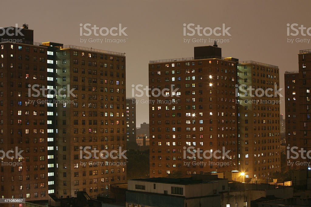 Public Housing Project At Night stock photo