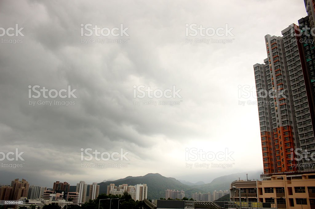 Public housing with dramatic sky in Shatin, Hong Kong stock photo