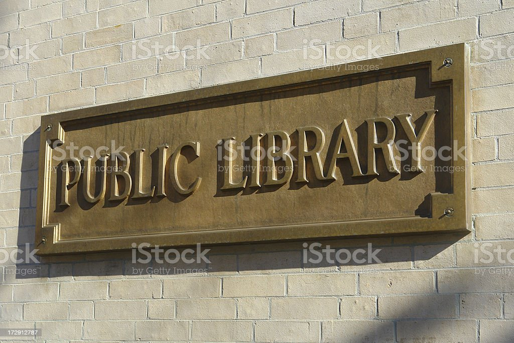 Public Library plaque royalty-free stock photo