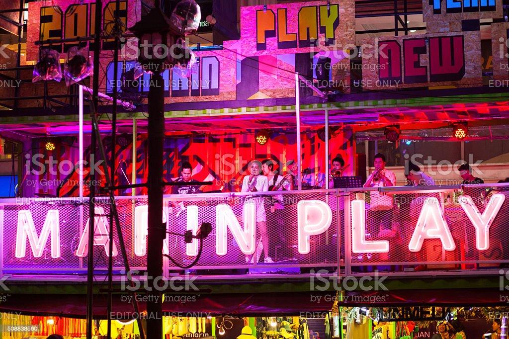Public new year live music stock photo