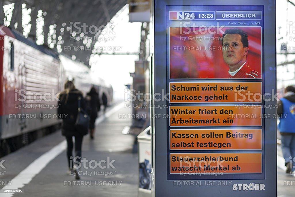 Public news screen on a railroad station platform at main station...