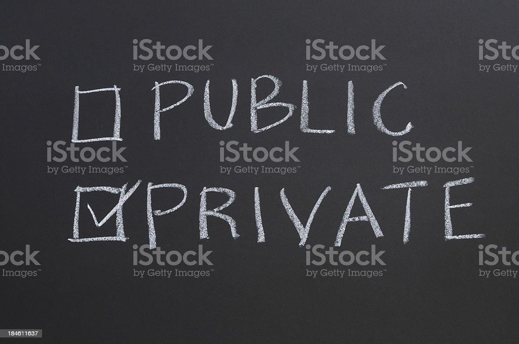 Public or Private Checkbox stock photo