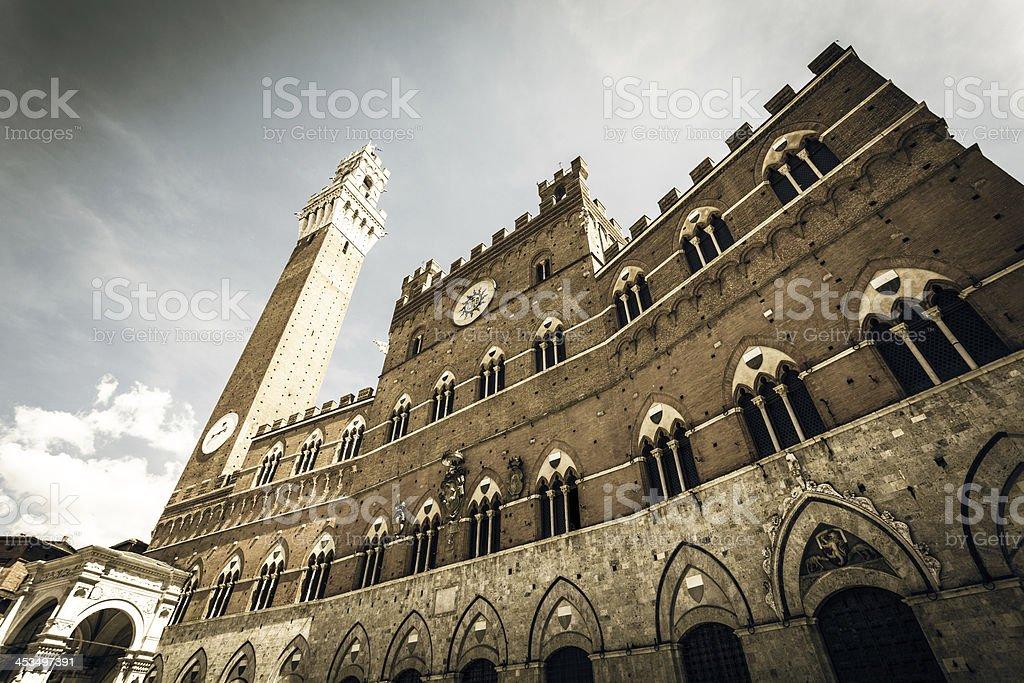 Public Palace of Siena and Torre del Mangia, Italy Landmark stock photo