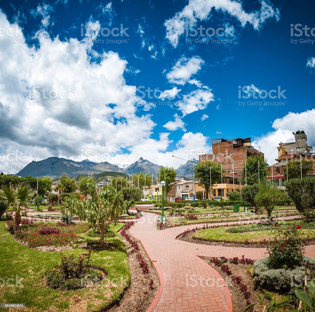 Public Park In Huaraz, Peru stock photo