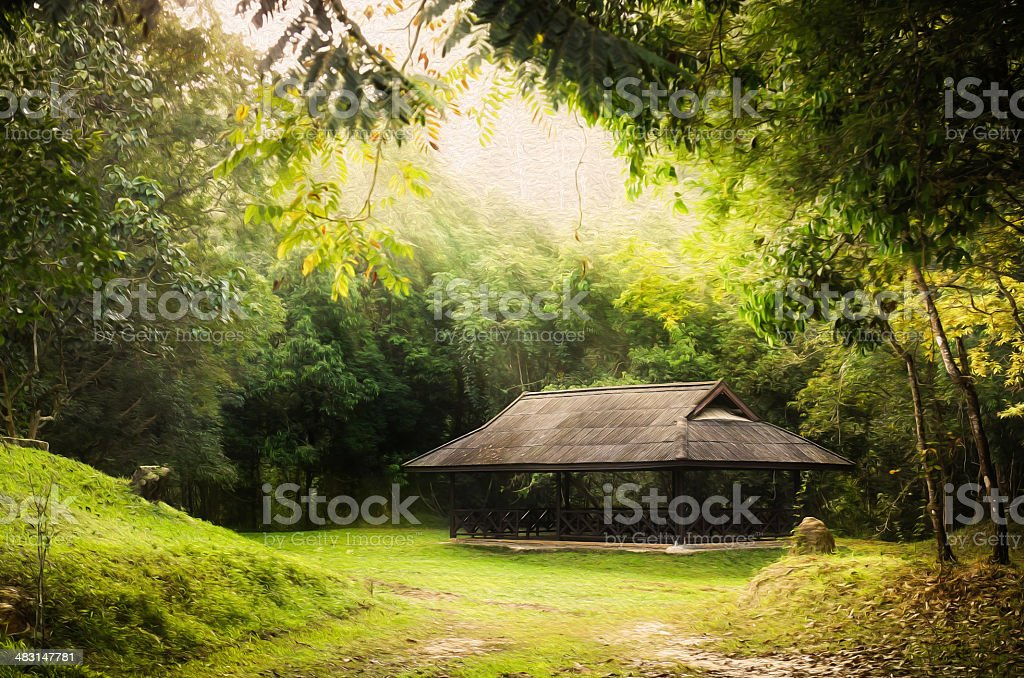 Public pavilion round by green forest, oil paint style. stock photo