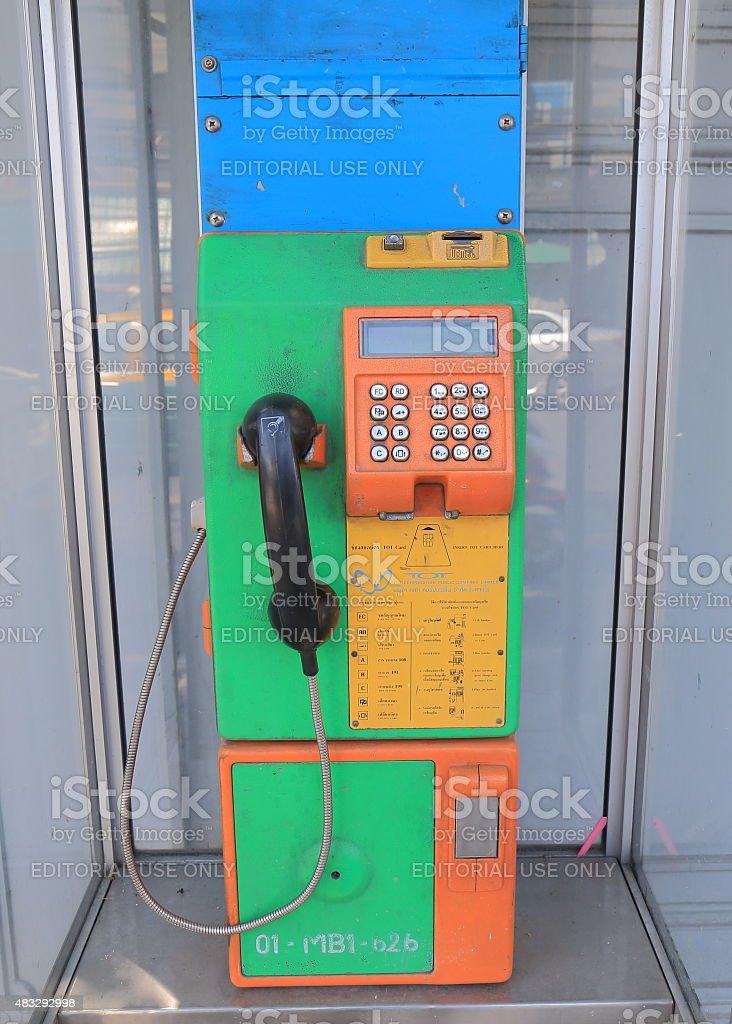 Public pay phone Bangkok Thailand stock photo