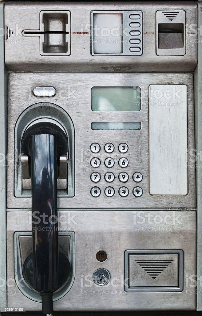 Public payphone card telephone stock photo