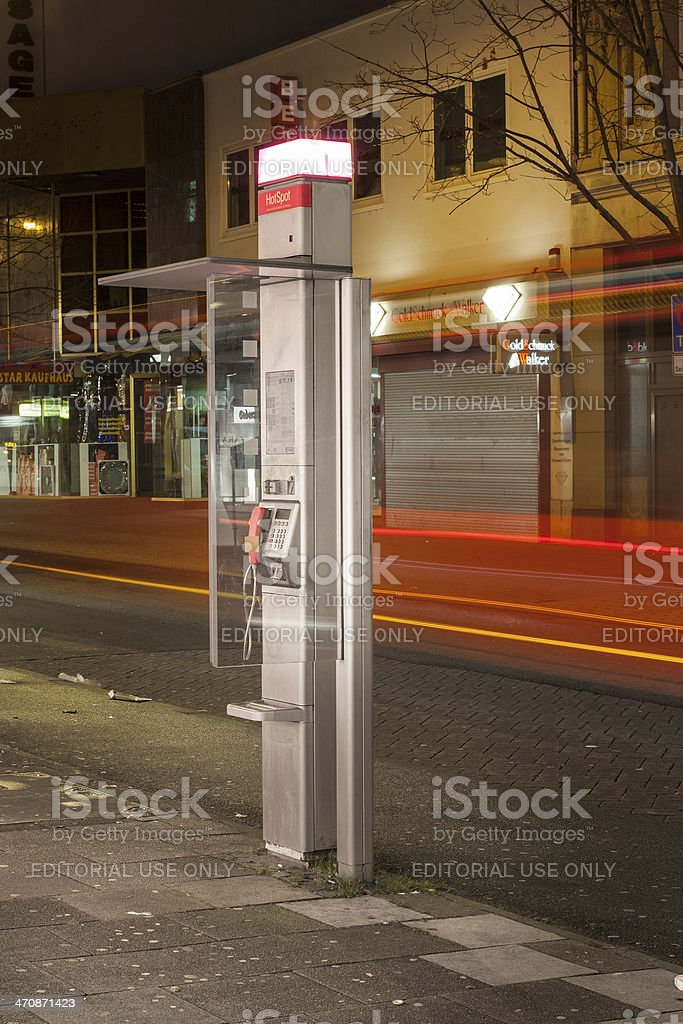 Public phone booth stock photo