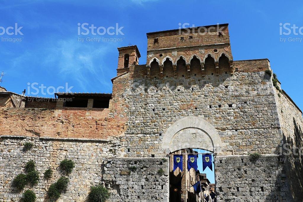 Public Porta San Giovanni in San Gimignano, Tuscany Italy stock photo