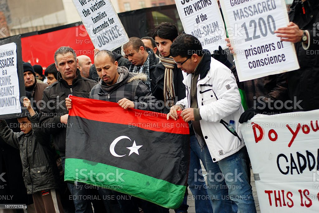 Public protest against Libyan problems in Liverpool royalty-free stock photo