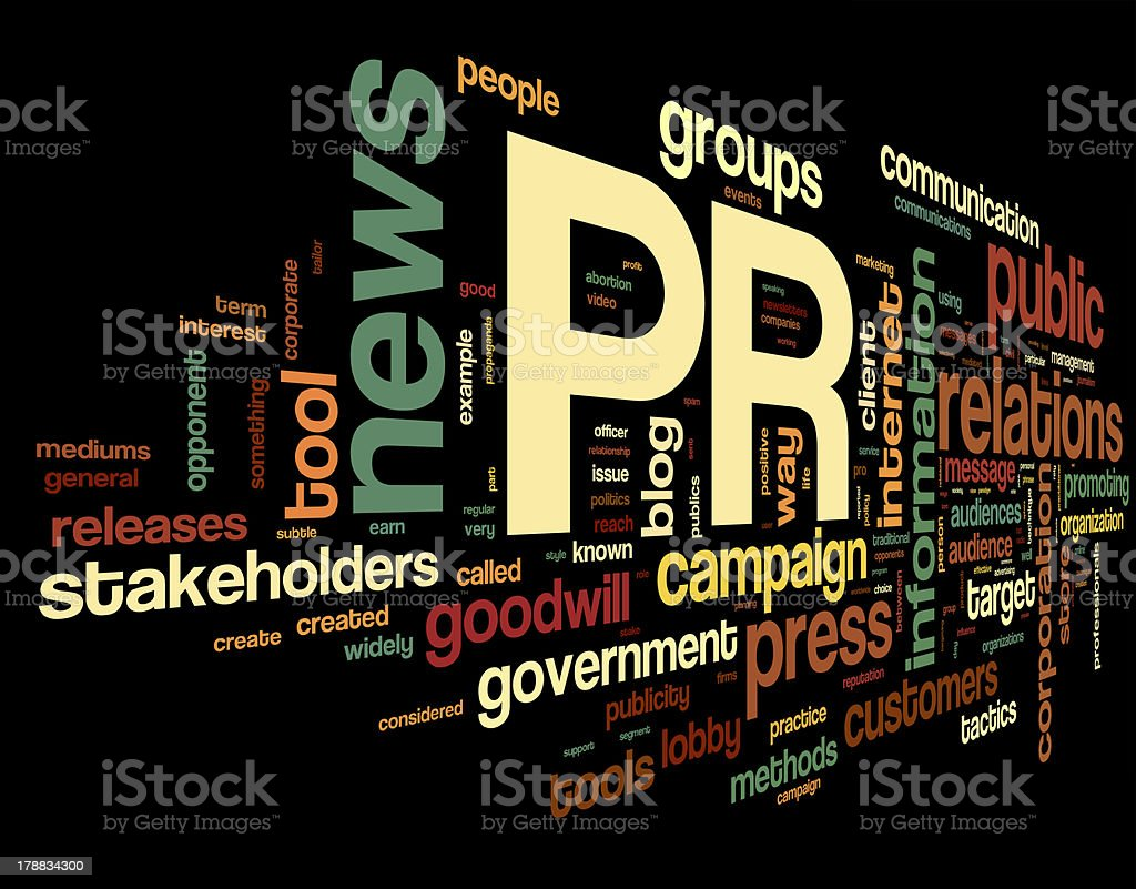 Public relations concept in tag cloud stock photo
