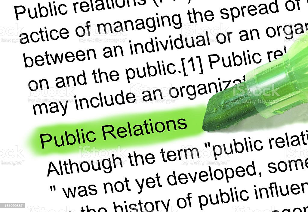 Public Relations definition highlighted in dictionary stock photo