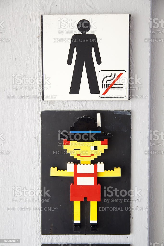 Public Restroom Sign Lego stock photo