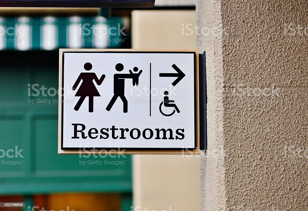 Public Restroom sign stock photo