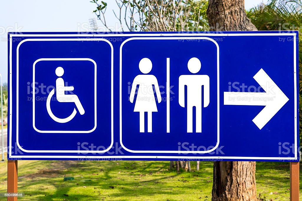Public restroom signs with a disabled access symbol stock photo