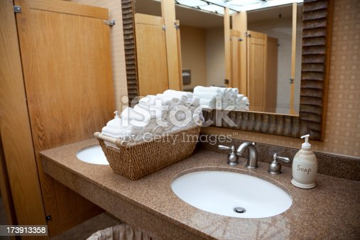 Public Bathroom Sink public restroom sink in hotel mirror cloth towels marble counter