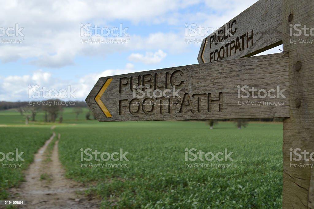 Public right of way through farmland. stock photo