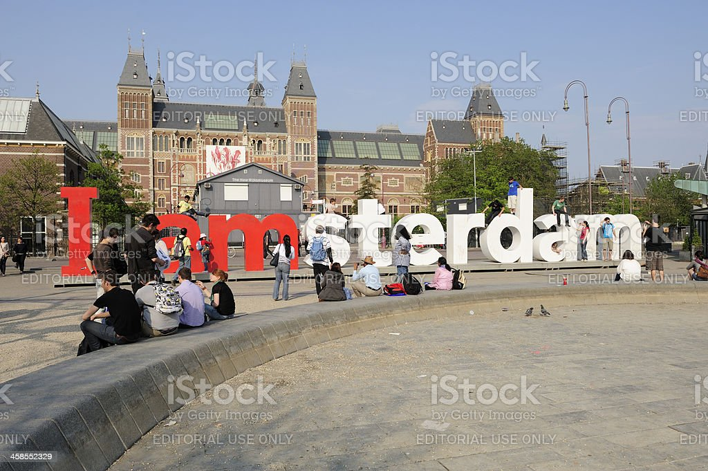 Public sculpture 'I Amsterdam' letters in front of Rijksmuseum stock photo