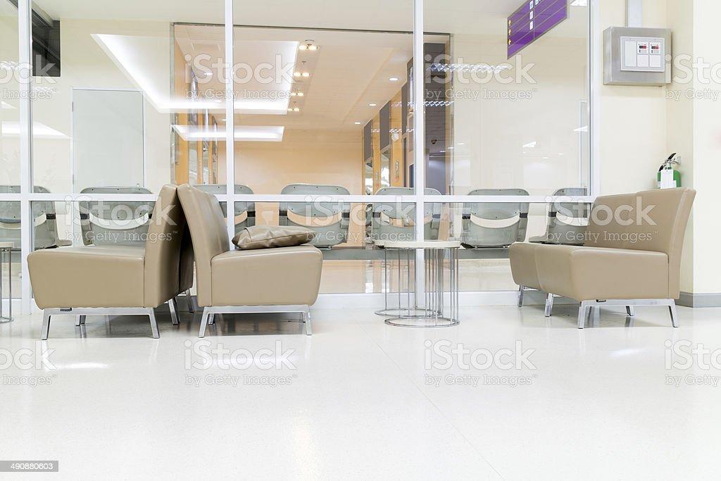 Public Seat on White Floor stock photo